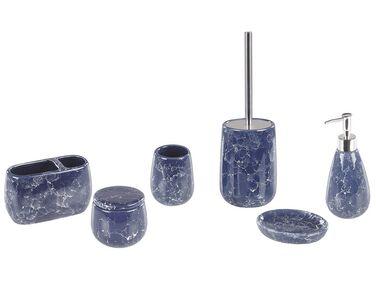 Beliani Retro Bathroom Accessories Set Grey Retro Ceramic Soap Dispenser Canela