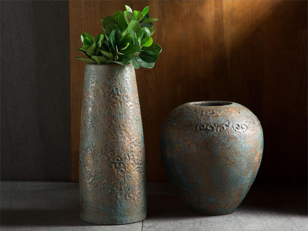 Decorative Vase Gold With Turquoise Segovia Beliani Dk