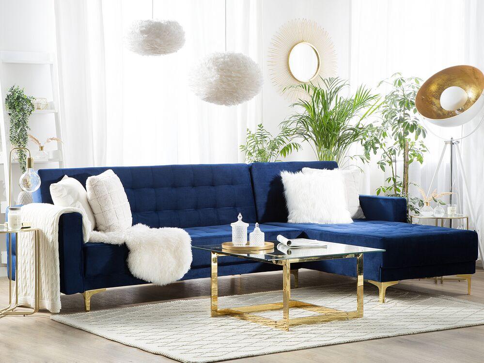 Left Hand Velvet Corner Sofa Navy Blue Aberdeen Beliani Dk